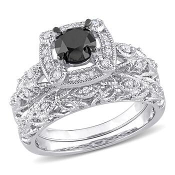 Trang sức Amour Bạc 925 1 1/6 CT TW Đen và Kim cương trắng Bridal Nhẫn Set chính hãng sale giá rẻ Hà nội TPHCM