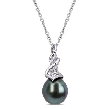 Trang sức Amour Bạc 925 1/10 Ct Kim cương & Tahitian Cultured Đen Pearl Drop Pendant với Chain chính hãng sale giá rẻ Hà nội TPHCM