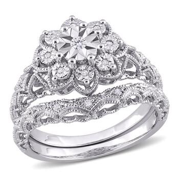 Trang sức Amour Bạc 925 1/10 CT TW Kim cương Vintage Bridal Set chính hãng sale giá rẻ Hà nội TPHCM