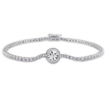 Trang sức Amour Bạc 925 1/2 CT TDW Kim cương Tennis Vòng đeo tay chính hãng sale giá rẻ Hà nội TPHCM