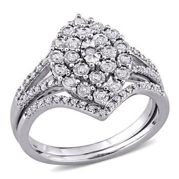 Trang sức Amour Bạc 925 1/4 CT TDW Kim cương Bridal Nhẫn Set chính hãng sale giá rẻ Hà nội TPHCM