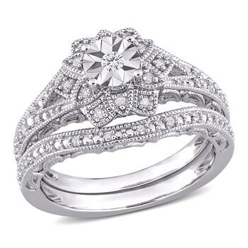trang sức Amour Bạc 925 1/5 CT TW Kim cương Vintage Bridal Set chính hãng sale giá rẻ tại Hà nội TPHCM