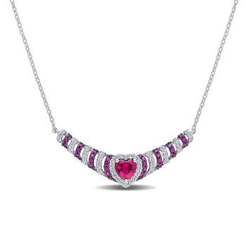 Trang sức Amour Bạc 925 1 7/8 CT TGW Created Ruby và Created White Sapphire Heart Dây chuyền (vòng cổ) chính hãng sale giá rẻ Hà nội TPHCM