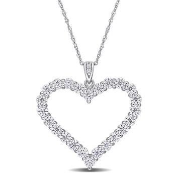 Trang sức Amour Bạc 925 2 2/5 CT TGW Created White Moissanite Heart Pendant với Chain chính hãng sale giá rẻ Hà nội TPHCM