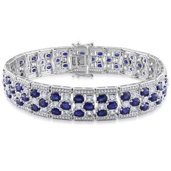 Trang sức Amour Bạc 925 26 1/4 CT TGW Created Blue Sapphire và Created White Sapphire Thời trang Vòng đeo tay chính hãng sale giá rẻ Hà nội TPHCM