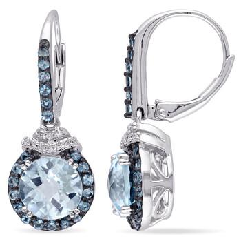 Trang sức Amour Bạc 925 4 5/8 CT TGW Sky và London Blue Topaz và 1/10 CT TDW Kim cương Leverback Bông tai (khuyên tai