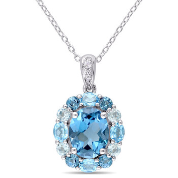 amour sterling silver 5 1 3 ct tgw london swiss sky blue and white topaz floral pendant with chain jms008125