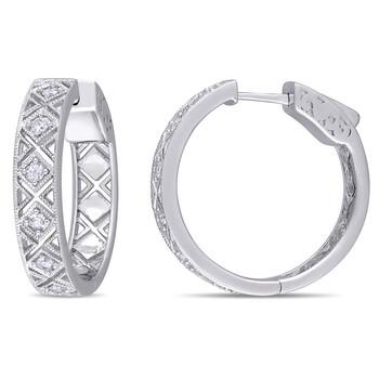Trang sức Amour Bạc 925 5/8 CT White Sapphire Hoop Bông tai (khuyên tai, hoa tai) chính hãng sale giảm giá sỉ rẻ nhất ở Hà nội TPHCM