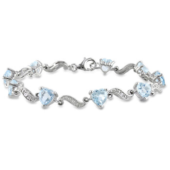 amour sterling silver 8 2 5 ct tgw blue topaz and 0 02 ct tdw diamond heart s link bracelet jms002711