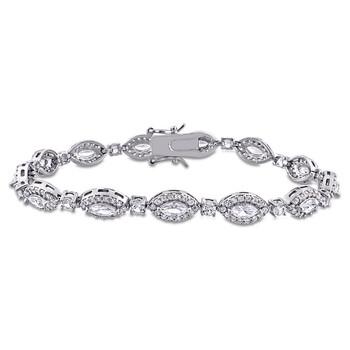 Trang sức Amour Bạc 925 9 1/2 CT TGW Marquise Created White Sapphire Vòng đeo tay chính hãng sale giá rẻ Hà nội TPHCM