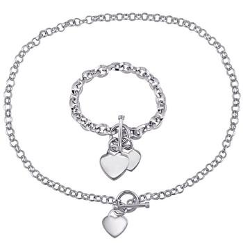 Trang sức Amour Bạc 925 Circle Link Heart Charm Dây chuyền (vòng cổ) và Vòng đeo tay 2-Piece Set chính hãng sale giá rẻ Hà nội TPHCM