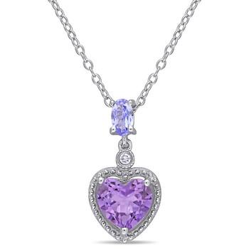 Trang sức Amour Bạc 925 Kim cương, Tanzanite và Hình trái timd Amethyst Pendant với Chain chính hãng sale giảm giá sỉ rẻ nhất ở Hà nội TPHCM