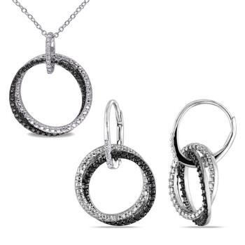 trang sức Amour Bạc 925 với Đen Rhodium 2 Piece Set of 1/10 CT TW Kim cương Entwined Bông tai (khuyên tai, hoa tai) và Pendant với Chain chính hãng sale giá rẻ tại Hà nội TPHCM