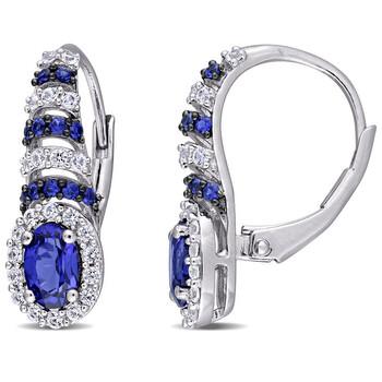 Trang sức Amour Bạc 925 với Đen Rhodium Plating 2 1/5 CT TGW Created Blue và Created White Sapphire Oval Bông tai (khuyên tai