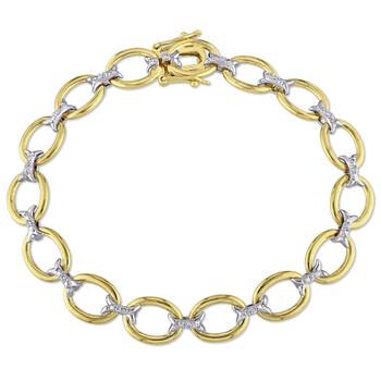 Trang sức Amour 925-Bạc 925 Round Cut Two-tone Kim cương Link Vòng đeo tay chính hãng sale giá rẻ Hà nội TPHCM