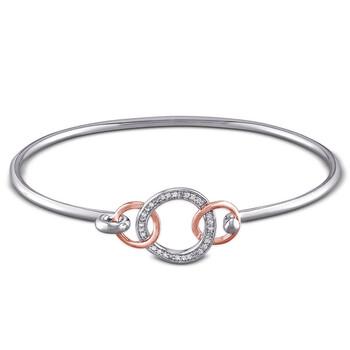 Trang sức Amour Two-Tone Silver 1/10 CT TDW Kim cương Bangle chính hãng sale giá rẻ Hà nội TPHCM