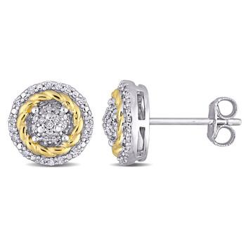 Trang sức Amour Two-Tone Silver 1/4 CT TDW Kim cương Rope Design Halo Stud Bông tai (khuyên tai