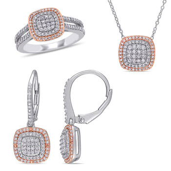 amour two tone silver 3 piece set 1 1 2 ct tw diamond halo cluster leverback earrings pendant with chain and split shank ring set jms008301 8
