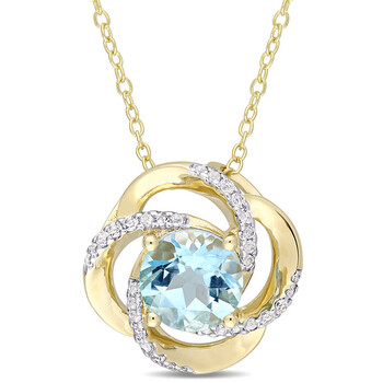 Amour Yellow Rhodium Bạc 925 2-3/5 CT TGW Sky-Blue Topaz Interlaced Floral Swirl Pendant với Chain