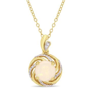 Trang sức Amour Yellow Silver 1 3/8 CT TGW Opal White Topaz và Kim cương Accent Interlaced Swirl Halo Pendant với Chain chính hãng sale giá rẻ Hà nội TPHCM