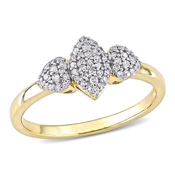 Trang sức Amour Yellow Silver 1/5 CT TDW Kim cương Cluster Nhẫn chính hãng sale giá rẻ Hà nội TPHCM