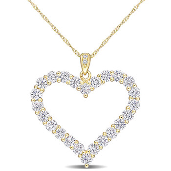 Trang sức Amour Yellow Silver 2 2/5 CT TGW Created White Moissanite Heart Pendant với Chain chính hãng sale giảm giá sỉ rẻ nhất ở Hà nội TPHCM