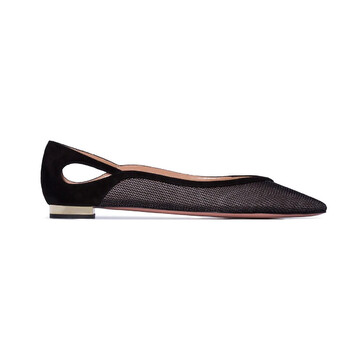 Giày Aquazzura Shiva Mesh Panel Ballerina Flats màu đen