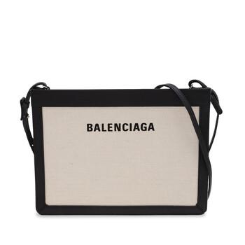 Balenciaga Beige Cotton Canvas And màu đen Da bê Pouch With Strap Chính hãng từ Mỹ
