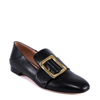 bally ladies black janelle buckle flats 6225874 6213099