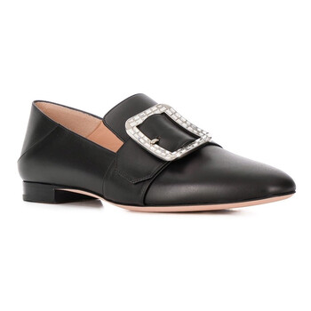 bally ladies janelle black leather loafers 6230657