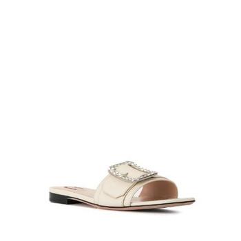 Giày Bally màu trắng Crystal Embellished Buckled Sandals chính hãng