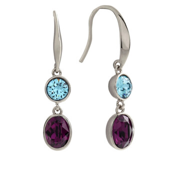 Trang sức Bertha Jemma Collection Nữ 18k WG mạ Blue & Purple Dangle Thời trang Bông tai (khuyên tai