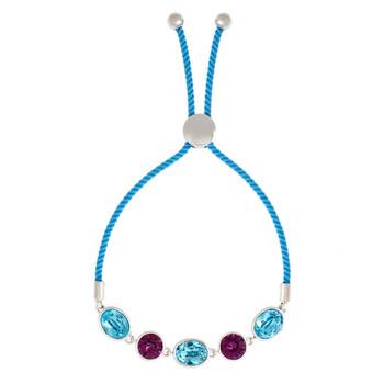 Trang sức Bertha Jemma Collection Nữ 18k WG mạ Aqua Bolo Rope Thời trang Vòng đeo tay chính hãng sale giá rẻ Hà nội TPHCM