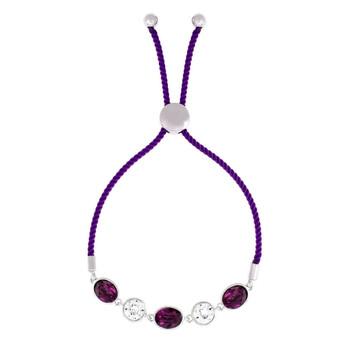 Trang sức Bertha Jemma Collection Nữ 18k WG mạ Purple Bolo Rope Thời trang Vòng đeo tay chính hãng sale giá rẻ Hà nội TPHCM