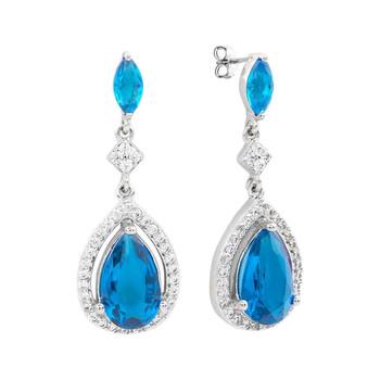 Trang sức Bertha Juliet Collection Nữ 18k WG mạ Light Blue Teardrop Thời trang Bông tai (khuyên tai