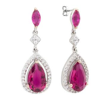 Trang sức Bertha Juliet Collection Nữ 18k Multi mạ Pink Teardrop Thời trang Bông tai (khuyên tai