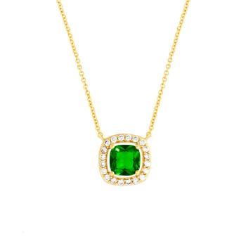 Trang sức Bertha Juliet Collection Nữ 18K YG mạ Green Cushion Halo Thời trang Dây chuyền (vòng cổ) chính hãng sale giá rẻ Hà nội TPHCM