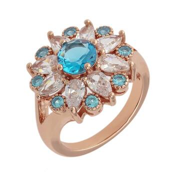 Trang sức Bertha Juliet Collection Nữ 18k RG mạ Light Blue Floral Statement Nhẫn thời trang chính hãng sale giá rẻ Hà nội TPHCM