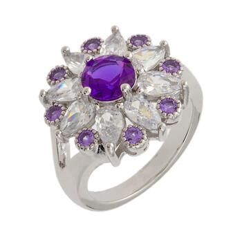 Trang sức Bertha Juliet Collection Nữ 18k WG mạ Purple Floral Statement Nhẫn thời trang chính hãng sale giá rẻ Hà nội TPHCM