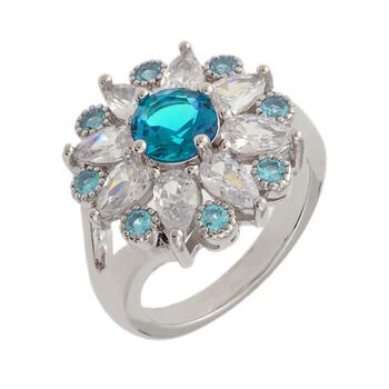 Trang sức Bertha Juliet Collection Nữ 18k WG mạ Light Blue Floral Statement Nhẫn thời trang chính hãng sale giá rẻ Hà nội TPHCM