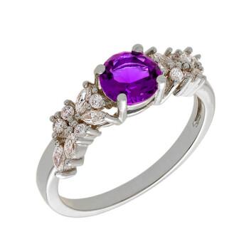 Trang sức Bertha Juliet Collection Nữ 18k WG mạ Purple Cluster Nhẫn thời trang chính hãng sale giá rẻ Hà nội TPHCM