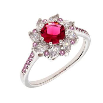 Trang sức Bertha Juliet Collection Nữ 18k WG mạ Red Flower Nhẫn thời trang chính hãng sale giá rẻ Hà nội TPHCM