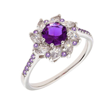 Trang sức Bertha Juliet Collection Nữ 18k WG mạ Purple Flower Nhẫn thời trang chính hãng sale giá rẻ Hà nội TPHCM