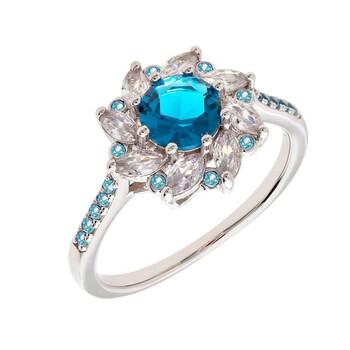 Trang sức Bertha Juliet Collection Nữ 18k WG mạ Blue Flower Nhẫn thời trang chính hãng sale giá rẻ Hà nội TPHCM