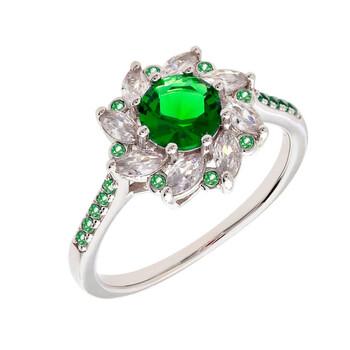 Trang sức Bertha Juliet Collection Nữ 18k WG mạ Green Flower Nhẫn thời trang chính hãng sale giá rẻ Hà nội TPHCM