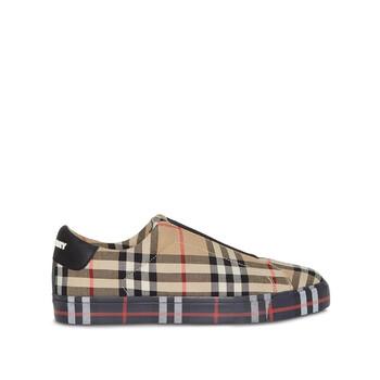 Giày Burberry nữ Contrast Check and Leather Slipon Sneakers chính hãng