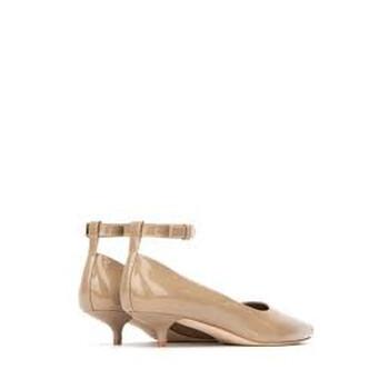 Giày Burberry nữ Patent Leather Peep toe Kitten Heel chính hãng