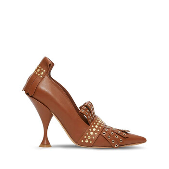 Giày Burberry Brown Studded Kiltie Fringe Leather Point Toe Pumps chính hãng
