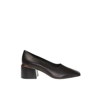 Giày Burberry màu đen Gold Plated Detail Lambskin Block Heel Pumps chính hãng