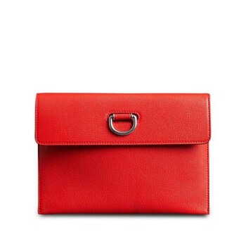 Burberry Bright màu đỏ D - ring Da Pouch with Zip Coin Case Chính hãng từ Mỹ